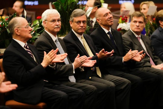 Members of Florida's Supreme Court attend the Senate's first meeting of the 2020 legislative session Tuesday, Jan. 14, 2020.