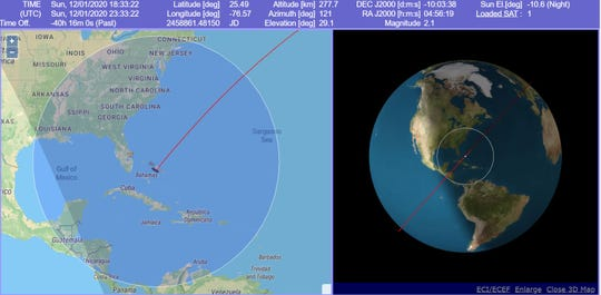 Just after 6:30 p.m. Sunday, January 12, 2020, the new line of SpaceX Starlink satellites were visbile up and down Florida's Treasure Coast.
