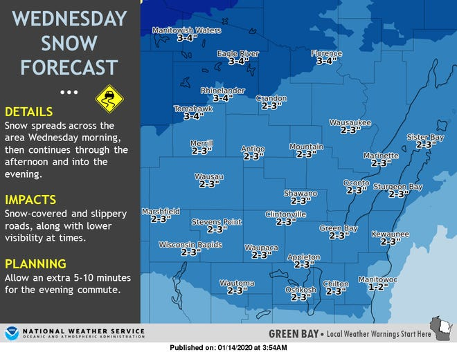 Snow is expected to fall throughout the day across Wisconsin on Wednesday.
