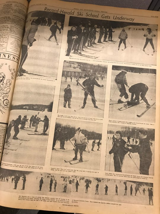 This full page photo essay on the Record-Herald Ski School ran on page seven of the Jan. 16,1960, newspaper.