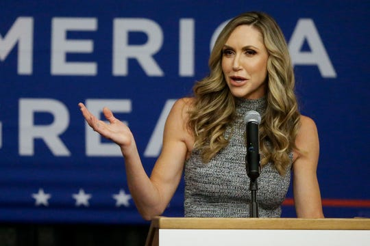 Lara Trump addresses the crowd during a campaign rally on Monday, January 13, 2020, at the Hilton Garden Inn in Wausau, Wis. Trump was visiting the state in advance of President Donald Trump's Tuesday campaign rally in Milwaukee.Tork Mason/USA TODAY NETWORK-Wisconsin