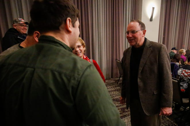 State Sen. Tom Tiffany, R-Minocqua, meets with constituents before Lara Trump's campaign rally on Monday at the Hilton Garden Inn in Rib Mountain.