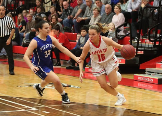 Tappan Zee's Dana Phelan (10) drives to the basket during their 55-49 win over Pearl River in girls basketball action at Tappan Zee High School in Orangeburg on Tuesday, January 14, 2020.