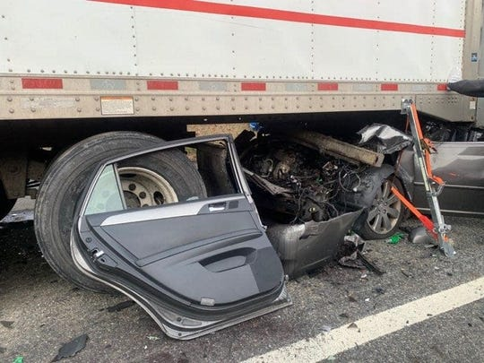 A driver was injured after crashing into a tractor-trailer on Interstate 87 in Sloatsburg on Jan. 13, 2020.