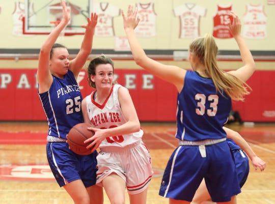 Tappan Zee's Kaleigh Beirne (20) drives through the paint against Pearl River's Jenna Daly (25) during their 55-49 win in girls basketball action at Tappan Zee High School in Orangeburg on Tuesday, January 14, 2020.