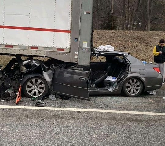 A driver was injured when he crashed into a tractor-trailer on Interstate 87 in Sloatsburg on Jan. 13, 2020.