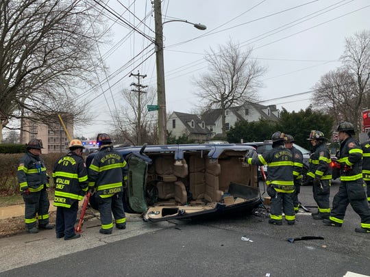 An SUV overturned at Riverview and Pennsylvania Avenues in Wilmington Tuesday morning.