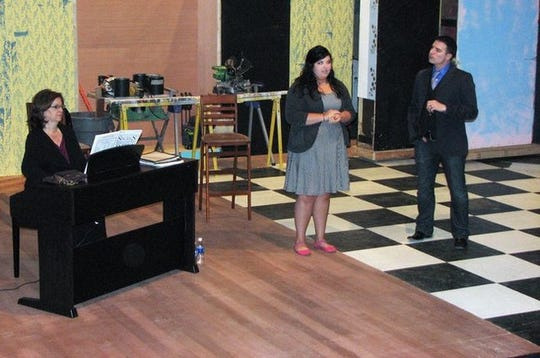 """In this 2011 file photo, Wichita Falls local and Broadway performer Rich Affannato instructs Emily Clements how to tell a story while she sings """"Home"""" from """"Beauty and the Beast"""" at the Backdoor to Broadway class."""