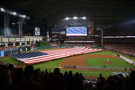 A view of Minute Maid Park before Game 3 of the 2017 World Series.
