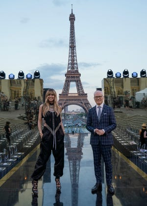 "Heidi Klum and Tim Gunn on the set of ""Making the Cut."""