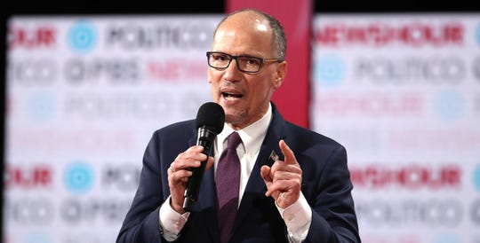 Democratic National Committee Chairman Tom Perez speaks to the audience ahead of the Democratic presidential primary debate at Loyola Marymount University on Dec. 19, 2019 in Los Angeles.