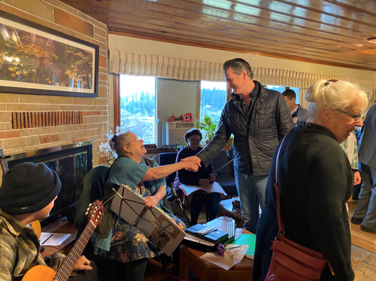California Gov. Gavin Newsom meets with constituents during his homelessness tour in Grass Valley, Calif., on Monday, Jan 13, 2020.