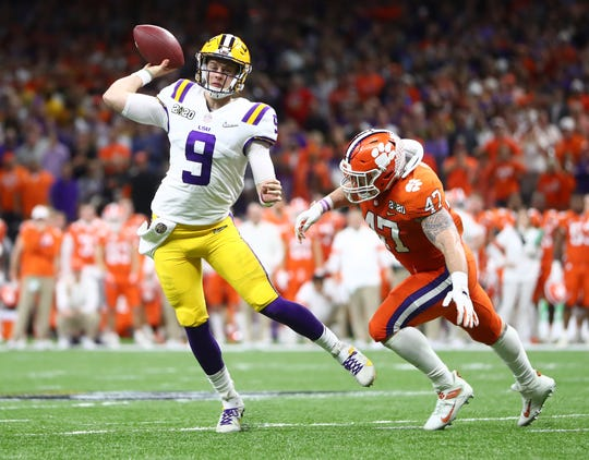 LSU quarterback Joe Burrow throws a pass against Clemson during the College Football Playoff national championship game.