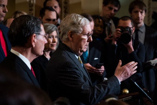 Senate Majority Leader Mitch McConnell, R-KY., speaks to reporters about the upcoming Senate impeachment trial in the U.S. Capitol in Washington, D.C., on Jan. 14, 2020.