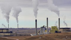 Coal-fired power plants next to the WyoDak mine east of Gillette, Wyoming, provide electricity for millions of homes.