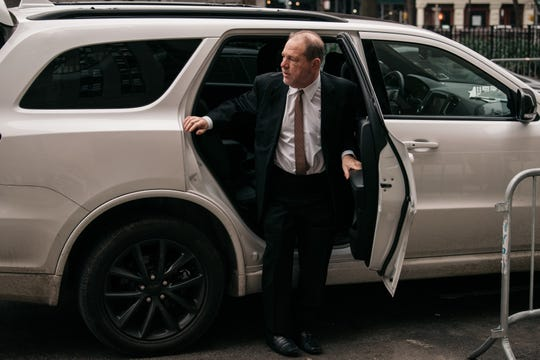 Harvey Weinstein arrives for Day 7 of his sex-crimes trial in Manhattan on Jan. 14, 2020.