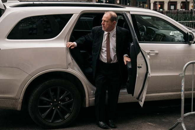Harvey Weinstein arrives for the 7th day of his trial for sex crimes in Manhattan on January 14, 2020.