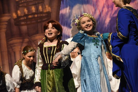 "Claire Jackson (left) stars as Young Anna and Lorelei Bolen as Young Elsa in LBM Production's Disney's ""Frozen Jr."" set to open Friday at the Coughlin-Saunders Performing Arts Center."