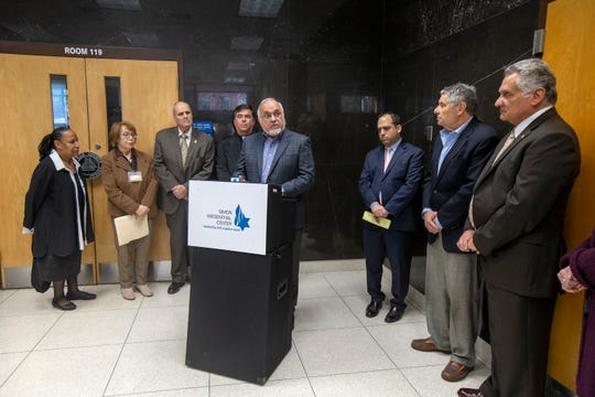 Rabbi Abraham Cooper, associate dean of Simon Wiesenthal Center, speaks as Simon Wiesenthal Center joins with Ocean County community leaders to commend Governor Phil Murphy and Attorney General Gurbir Singh Grewal for their leadership in combatting Rise Up Ocean County and anti-Semitism impacting the state at the Ocean County Administration Building in Toms River, NJ Wednesday, January 15, 2020.