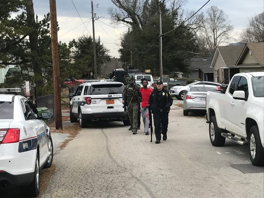 Deveron Angelo Roberts is taken into custody as a person of interest in a Jan. 13, 2020 homicide on Fayetteville Street. He was later charged with first-degree murder.
