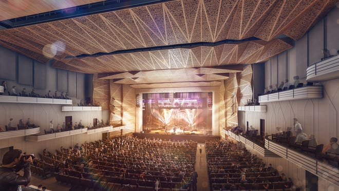 This rendering shows the overhauled Thomas Wolfe Auditorium as it would appear at a concert. New seats would sit several feet lower than they are at present, and acoustic panels line the ceiling and upper walls.