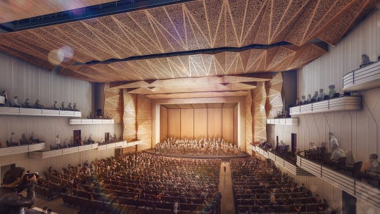 This rendering displays the Thomas Wolfe Auditorium as it would appear during a symphony performance. The new space would have two balconies instead of one, and renovations would solve current sound issues.