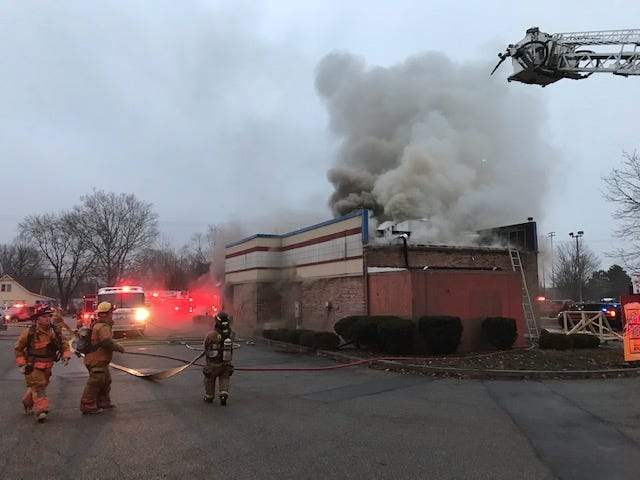 A fire broke out at the KFCrestaurant on Capital Avenue Northeast in Pennfield Township on Wednesday, Jan. 15, 2020.