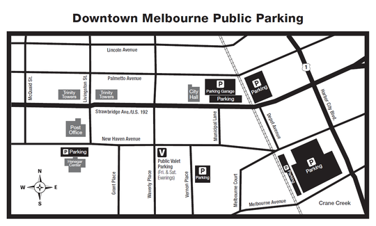 Public parking lots are depicted in black on this map.