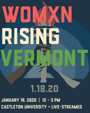 Official poster for 2020 Women's March Vermont