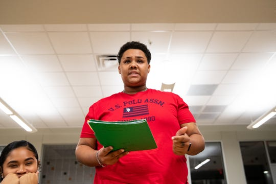 Refugio High School senior Levander Vauntae LaFond  gives a statement in favor of discontinuing Dixie as the schools fight song during public comment before the Refugio ISD school board voted do discontinue the use of the song on Tuesday, Jan. 14, 2020.