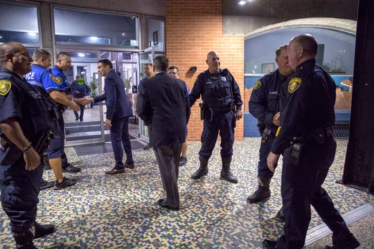 Corpus Christi Police officers with the crime reduction unit greet people arriving for the Corpus Christi Police Foundation's Breakfast with the Chief at the Congressman Solomon P. Ortiz International Center on Tuesday, January 15, 2020.