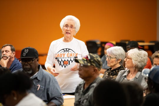 """Anita Barber speaks in favor of keeping """"Dixie"""" as the Refugio fight song during public comment at a special school board meeting on Tuesday, Jan. 14, 2020."""