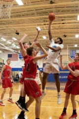 Chillicothe's Jayvon Maughmer goes up for a floater during a 61-39 win over Fairfield Union on Tuesday, Jan. 14, 2020, in Chillicothe, Ohio.