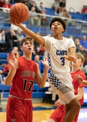 Chillicothe's Tre Beard goes up for a layup during a 61-39 win over Fairfield Union on Tuesday, Jan. 14, 2020, in Chillicothe, Ohio.