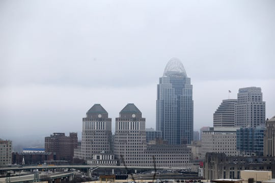 Fog can be seen over downtown, Wednesday, Jan. 15, 2020, in Cincinnati. Cincinnati has experienced 25 consecutive days of above normal temperatures since Dec. 20, according to the National Weather Service.