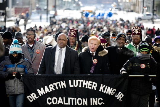 From right, in 2019, Dior Betts, 14, State Senator Cecil Thomas, Rabbi Gary Zola, Jay Payne, MLK Coalition president, and Simeon Betts, 11, lead the 44th annual Martin Luther King Jr. Day Memorial March.