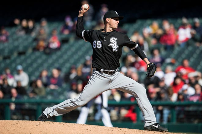 Apr 3, 2019; Cleveland, OH, USA; Chicago White Sox relief pitcher Nate Jones (65) throws a pitch during the ninth inning against the Cleveland Indians at Progressive Field.