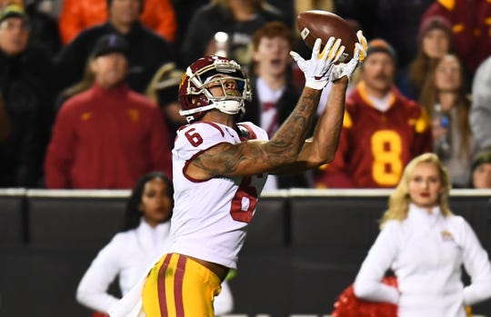 Oct 25, 2019; Boulder, CO, USA; USC Trojans wide receiver Michael Pittman Jr. (6) pulls in a touchdown reception in the fourth quarter against the Colorado Buffaloes at Folsom Field.
