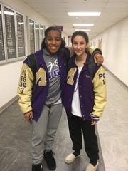 Monroe basketball players Brielle Fitzpatrick and Nina Branchizio