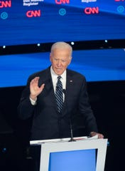 Former Vice President Joe Biden speaks during the CNN/Des Moines Register Democratic Debate on Tuesday, Jan. 14, 2020, in Sheslow Auditorium on the Drake University campus in Des Moines, Iowa.
