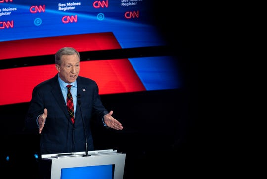 Tom Steyer on stage during the CNN/Des Moines Register Democratic Debate on Tuesday, Jan. 14, 2020, in Sheslow Auditorium on the Drake University campus in Des Moines, Iowa.