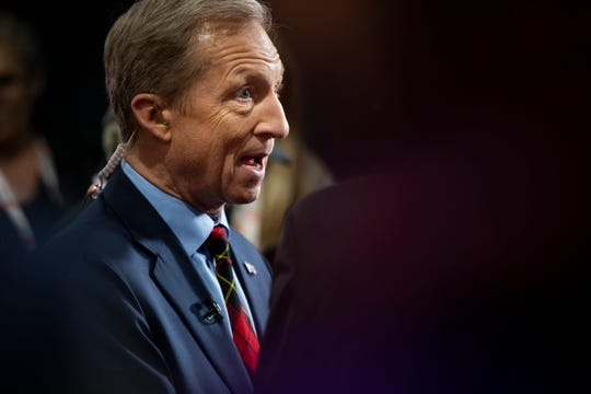2020 Democratic presidential candidate Tom Steyer does a TV interview in the spin room following the CNN/Des Moines Register Democratic Presidential Debate at Drake University's Sheslow Auditorium on Tuesday, Jan. 14, 2020, in Des Moines.