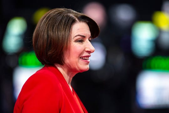 Democratic presidential candidate U.S. Sen. Amy Klobuchar, D-Minn., talks with reporters after the CNN/Des Moines Register Democratic Presidential Debate, Tuesday, Jan. 14, 2020, on the Drake University campus in Des Moines, Iowa.