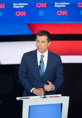 Former South Bend, Indiana, Mayor Pete Buttigieg speaks during the CNN/Des Moines Register Democratic Debate on Tuesday, Jan. 14, 2020, in Sheslow Auditorium on the Drake University campus in Des Moines, Iowa.