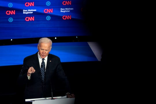 Former Vice President Joe Biden on stage during the CNN/Des Moines Register Democratic Debate on Tuesday, Jan. 14, 2020, in Sheslow Auditorium on the Drake University campus in Des Moines, Iowa.