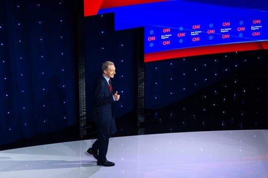 Tom Steyer takes the stage during the CNN/Des Moines Register Democratic Debate on Tuesday, Jan. 14, 2020, in Sheslow Auditorium on the Drake University campus in Des Moines, Iowa.
