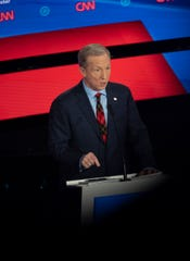 Tom Steyer, billionaire political activist, speaks during the CNN/Des Moines Register Democratic Debate on Tuesday, Jan. 14, 2020, in Sheslow Auditorium on the Drake University campus in Des Moines, Iowa.