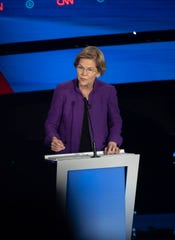U.S. Sen. Elizabeth Warren of Massachusetts speaks during the CNN/Des Moines Register Democratic Debate on Tuesday, Jan. 14, 2020, in Sheslow Auditorium on the Drake University campus in Des Moines, Iowa.