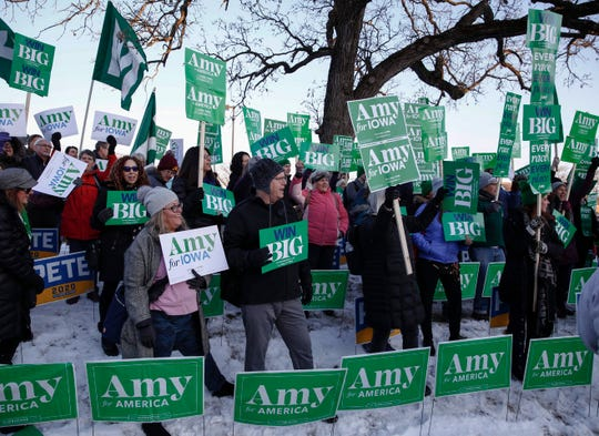 Supporters of Minnesota Sen. and current Democratic presidential candidate hopeful Amy Klobuchar chant and cheer in the hours prior to the Democratic debate at Drake University in Des Moines on Tuesday, Jan. 11, 2020.