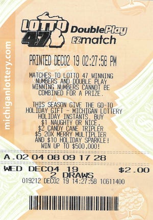 A 27-year-old Oakland County man's jackpot winning Lotto 47 ticket.
